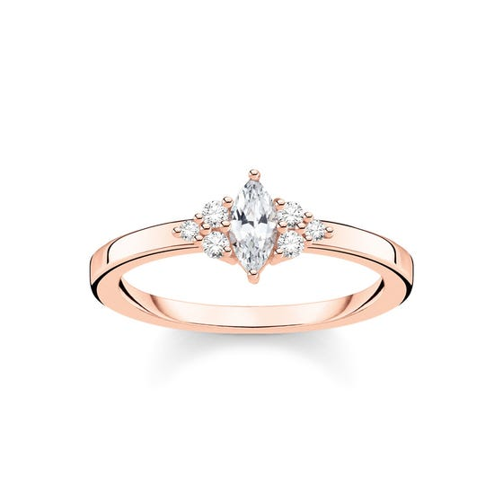 Rose Gold Plated & Zirconia Vintage Ring