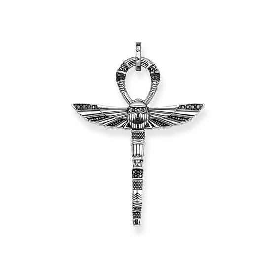 Rebel at Heart Silver Ankh With Scarab Pendant