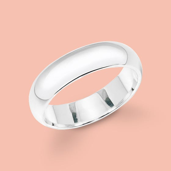 Silver 6mm D-Shape Ring