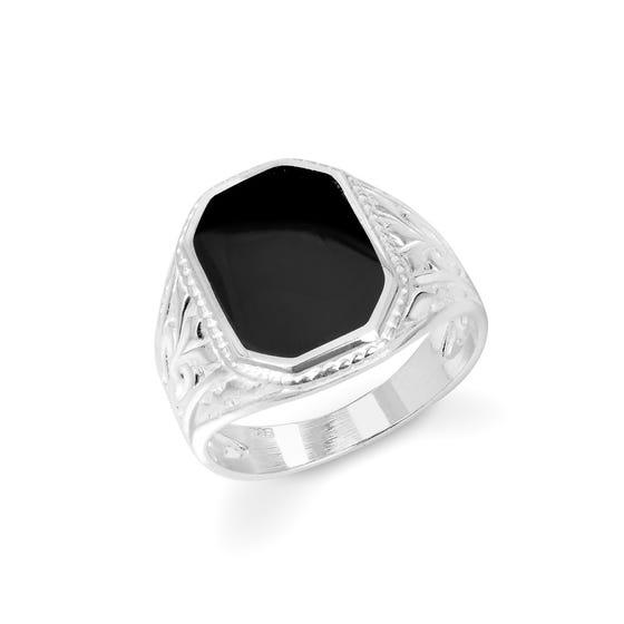 Silver & Jet Ornate Shoulder Signet Ring