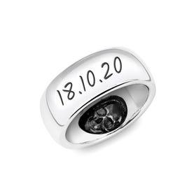 Silver 9mm D-Shape Ring with Hidden Skulls