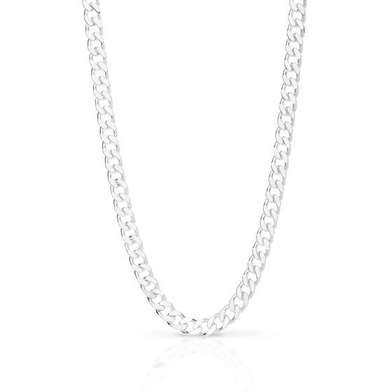 Silver Flat Curb Chain Necklace