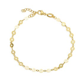 Cane Gold Plated Silver Cut Out Disc Bracelet