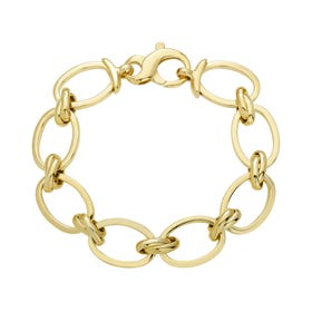 Cane Gold Plated Silver Hollow Oval & Double Link Bracelet