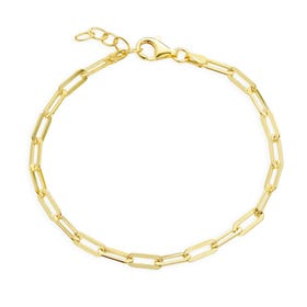 Cane Gold Plated Silver Paper Clip Chain Bracelet