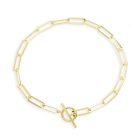 Cane Gold Plated Silver Flattened Open Oval T-Bar Bracelet