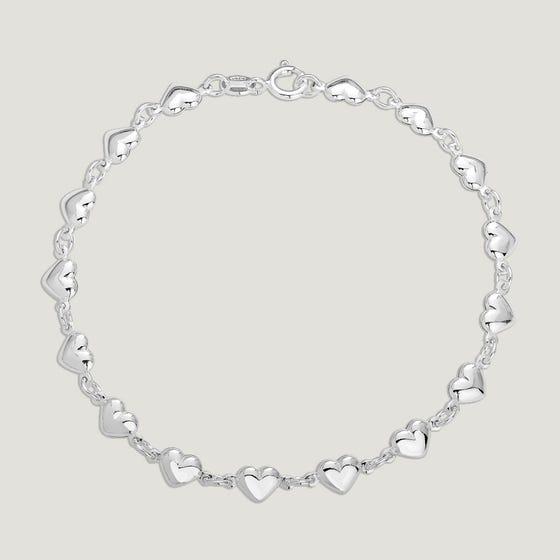 Love Silver Small Puffed Hearts Bracelet
