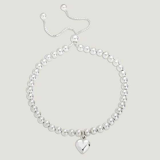 Love Silver Heart Charm Beaded Slider Bracelet