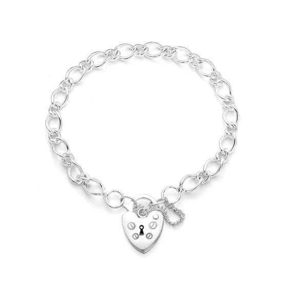 Love Silver Heart Padlock Bracelet with Safety Chain