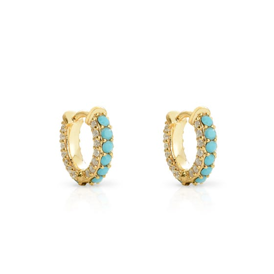 Cane Gold Plated Silver CZ & Turquoise Huggie Hoop Earrings