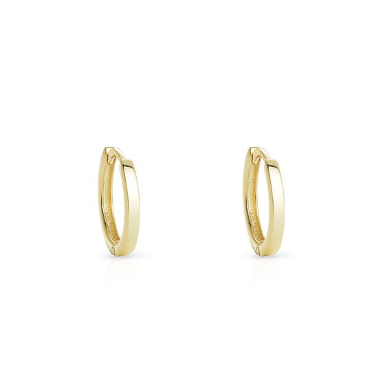 Cane Gold Plated Silver Small Plain Hoop Earrings