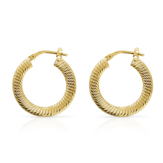 Cane Gold Plated Silver Diamond Cut Hoop Earrings