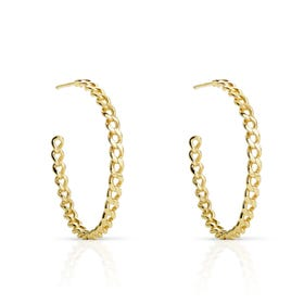 Cane Gold Plated Silver Chain Link Large Hoop Earrings