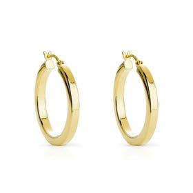 Cane Gold Plated Silver Plain Hoop Earrings