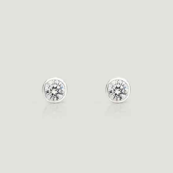 Cane Silver Rubover 4mm CZ Stud Earrings