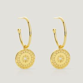 Sky Gold Plated Silver CZ Star Disc Hoop Earrings
