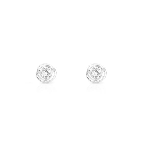 Spun Silver Twist CZ Stud Earrings