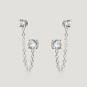Bar Silver CZ & Chain Double Stud Earrings
