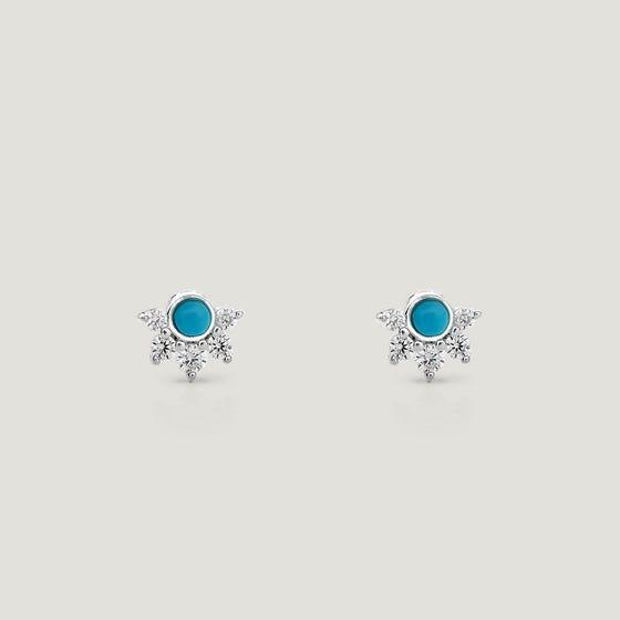 Sky Silver Turquoise & CZ Stud Earrings