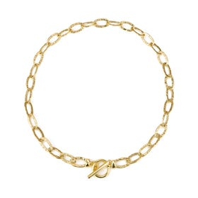 Cane Gold Plated Silver Hollow Textured Link T-Bar Necklace