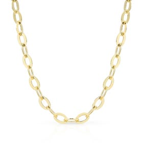 Cane Gold Plated Silver Flattened Oval Belcher Necklace