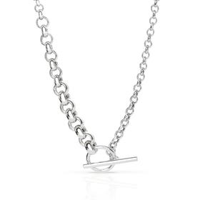 Cane Silver Graduated Belcher T-Bar Necklace