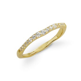 Cane Gold Plated Silver Soft Wave CZ Ring