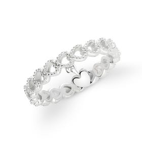Love Silver Heart Charm Ring