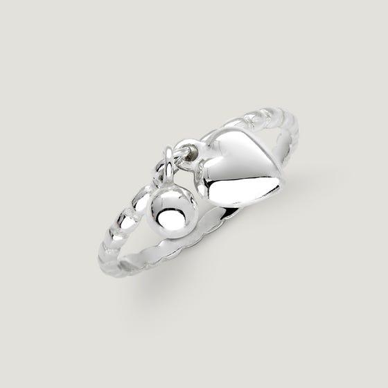 Love Silver Heart & Bead Charm Ring