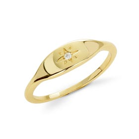 Sky Gold Plated Silver CZ Star Signet Ring