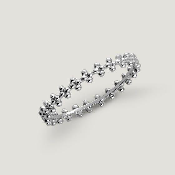 Spun Silver Thin Flower Ring
