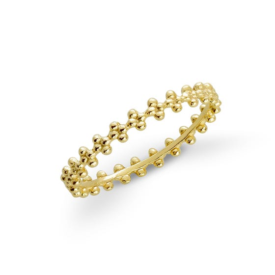 Spun Gold Plated Silver Thin Flower Ring