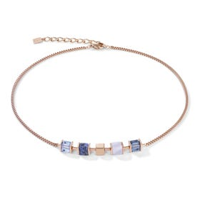 Classic GEOCUBE Necklace Rose Gold, Blue, Chalcedony & Sodalite