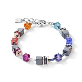 Classic GEOCUBE Bracelet Bright Multi Coloured Rainbow & Hematite