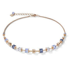Classic GEOCUBE Necklace Half Set Rose Gold, Blue & Cornflower Blue