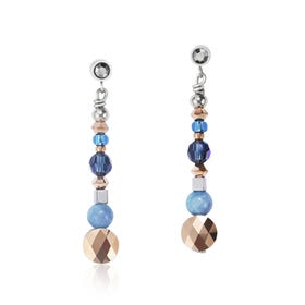Elegance Rose Gold, Blue & Amazonite Drop Earrings