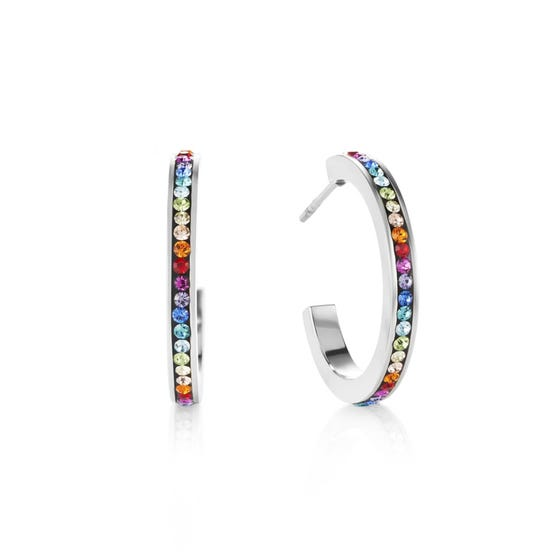 Elegance Halo Hoop Earrings Rainbow Crystal
