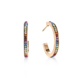 Elegance Halo Rose Hoop Earrings Rainbow Crystal
