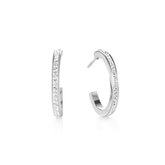 Elegance Halo Hoop Earrings White Crystal