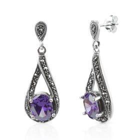 Aurora Marcasite & Amethyst CZ Silver Twist Drop Earrings