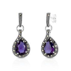 Aurora Marcasite & Amethyst CZ Silver Drop Earrings