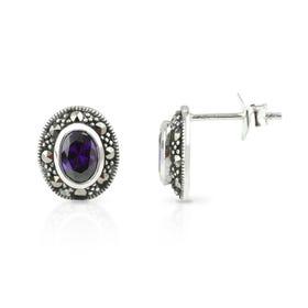 Aurora Marcasite & Amethyst CZ Oval Silver Stud Earrings