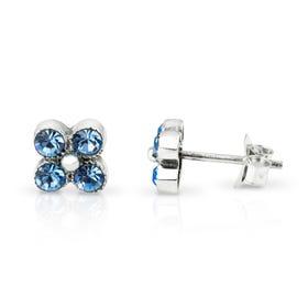 Aurora Blue Topaz CZ Flower Silver Stud Earrings
