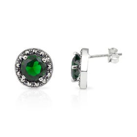 Aurora Marcasite & Emerald CZ Round Silver Stud Earrings