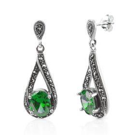 Aurora Marcasite & Emerald CZ Silver Twist Drop Earrings