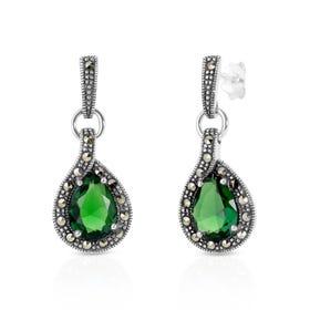 Aurora Marcasite & Emerald CZ Teardrop Silver Earrings
