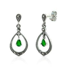 Aurora Marcasite & Emerald CZ Open Silver Drop Earrings