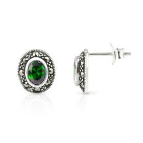 Aurora Marcasite & Emerald CZ Oval Silver Stud Earrings