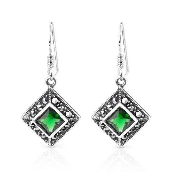 Aurora Marcasite & Emerald CZ Square Silver Drop Earrings