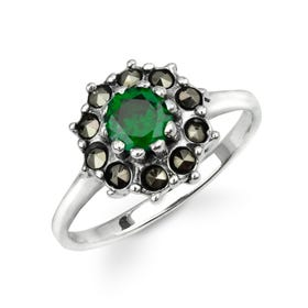 Aurora Marcasite & Emerald CZ Domed Flower Silver Ring